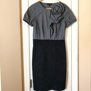 THE LIMITED Striped Pencil Dress Black & Gray